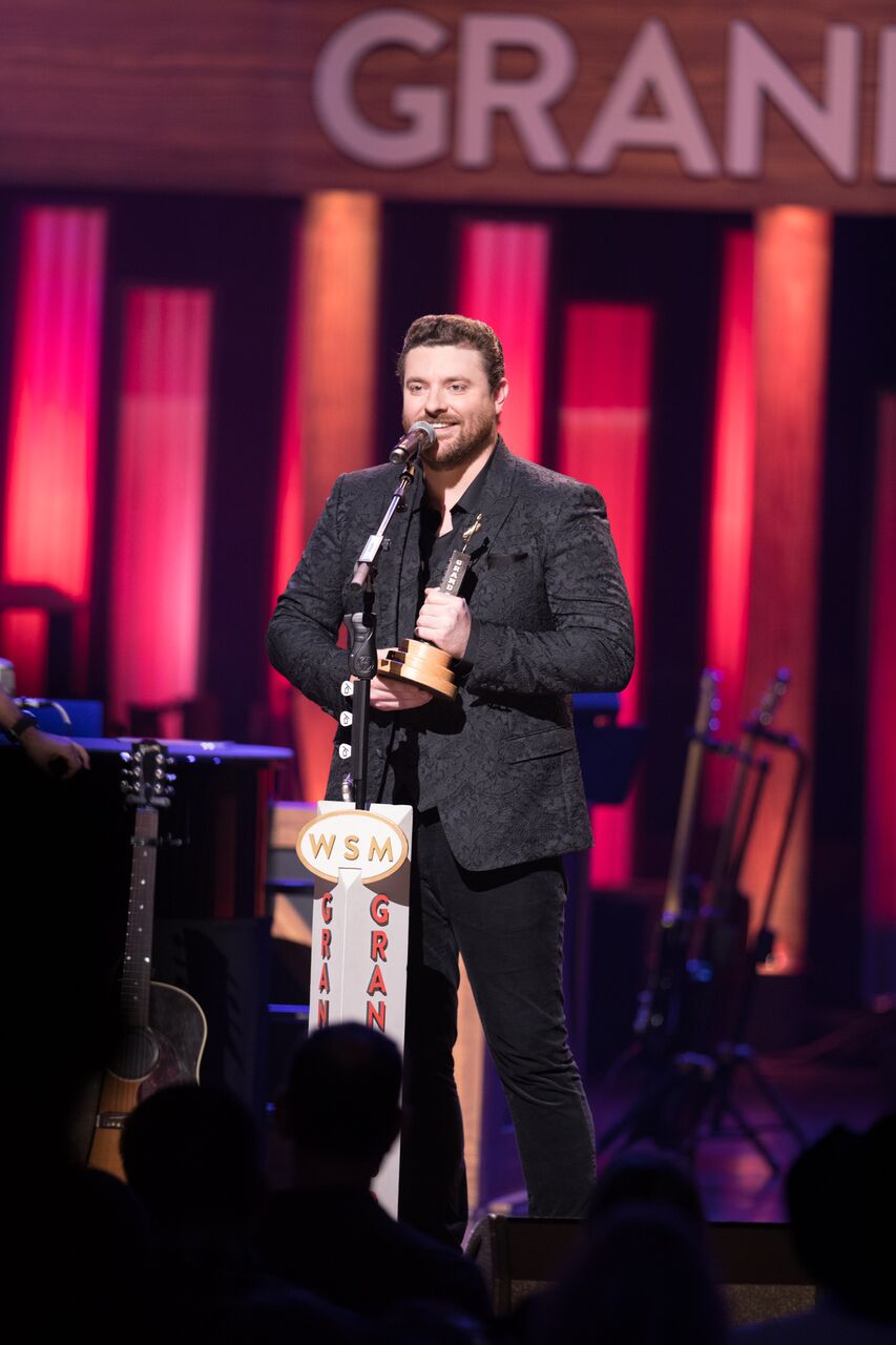 Chris Young accepting Grand Ole Opry induction